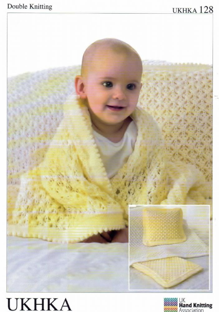 DK Baby Knitting Pattern - Cot Blanket Pram Blanket & Cushion UKHKA 128